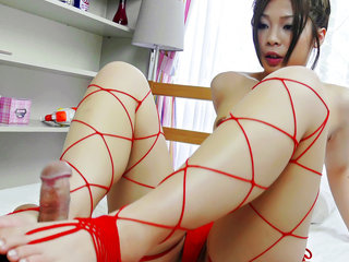 Cute Toa is suprised in her bedroom by her horny teacher and she jerks him until he cums